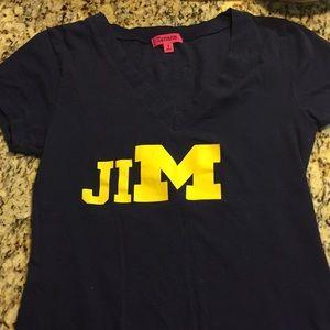JIM Harbaugh V neck navy tee Michigan University